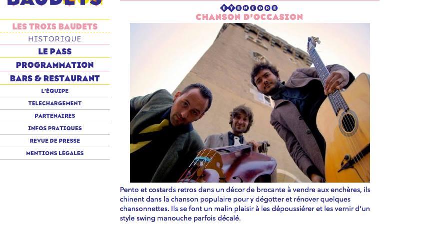 CHANSON D'OCCASION au Trois Baudets